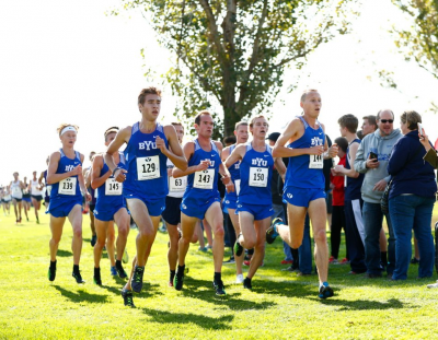 A sea of blue near the front has become a familiar sight in BYUs races this year