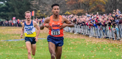 Justyn Knight wins. Photo via@CuseXCTF