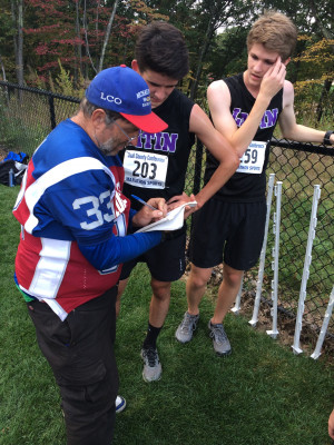A common occurrence: Mahon tracking down runners' names and times