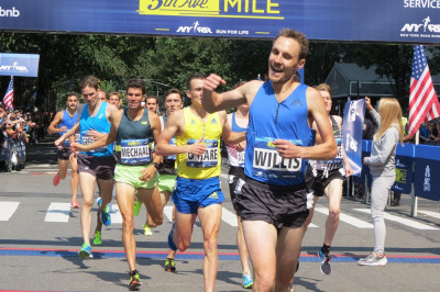 Nick Willis winning the 2017 New Balance Fifth Avenue Mile (photo by Jane Monti for Race Results Weekly)