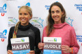 Jordan Hasay and Molly Huddle in advance of the 2018 Aramco Houston Half-Marathon (photo by David Monti for Race Results Weekly)