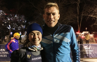 Molly Seidel and Reid Buchanan after finishing the 2017 NYRR Midnight Run (photo by Jane Monti for Race Results Weekly)