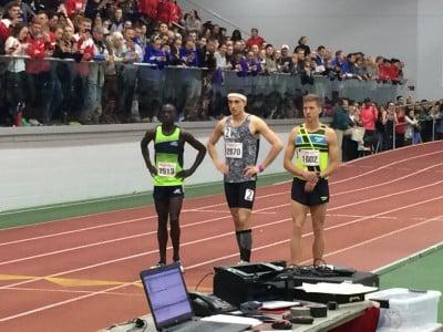 Cheserek, Piazza, and Kidder before the race