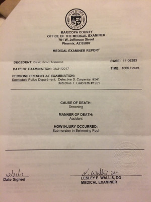 Front page of medical examiner's report