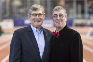 Jim Ryun and Ian Brooks pose for a photograph during the 111th NYRR Millrose Games at the Armory, NYC February 3, 2018 Image ©ÊRoss Dettman