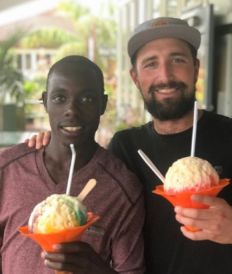 Cheserek and Haas in Hawaii in December (courtesy Edward Cheserek)