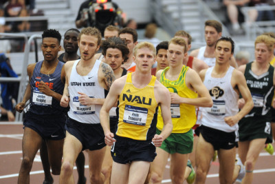 Andy Trouard Leads NCAAA 3000m (Photo by Bert Richardson)