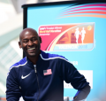 Bernard Lagat at today's press conference. Photo via @urimiscot