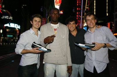 The groom (2nd from right) was cool with Usain Bolt after his first WR but nervous with Willis at the rehearsal dinner