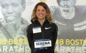 Serena Burla in advance of the 2018 Boston Marathon (photo by Jane Monti for Race Results Weekly)
