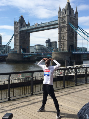 Farah in front of the famous Tower Bridge