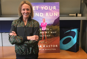 PHOTO: Deena Kastor at the offices of Penguin Random House in New York City (photo by David Monti for Race Results Weekly)