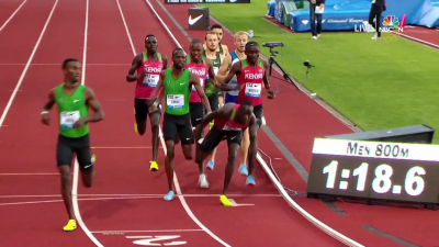 Korir almost face plants (screen shot from NBCSN broadcast)