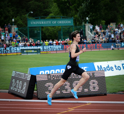 Jakob Ingebrigtsen in the last 100. (Photo via LRC visitor Tim Healy)