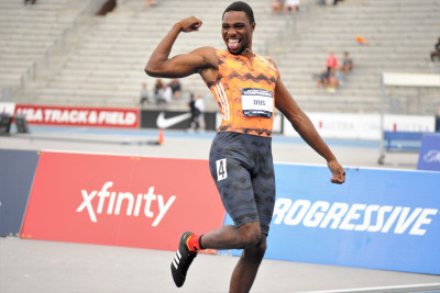 Lyles does The Shoot after winning his first U.S. outdoor title (Phil Bond photo)