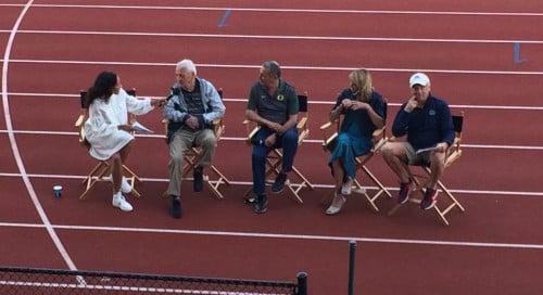 From left: emcee Sasha Spencer Atwood, Dellinger, Chapa, Slaney, and Tyson