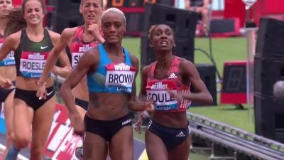 Brown drifting into lane 1