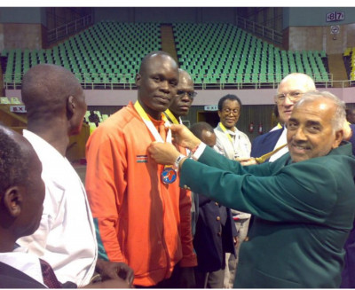 Ouma being crowned Kenyan champion in karate in 2005