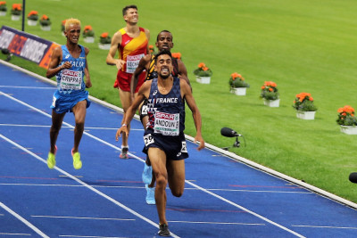 PHOTO: Morhad Amdouni wins the 2018 European Championships 10,000m over Belgium's Bashir Abdi, Italy's Yemaneberhan Crippa and Spain's Adel Mechaal (photo by Jane Monti for Race Results Weekly)