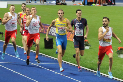 Poland's Adam Kszczot wins his third consecutive European Athletics Championships 800m title in Berlin's Olympic Stadium (photo by Jane Monti for Race Results Weekly)