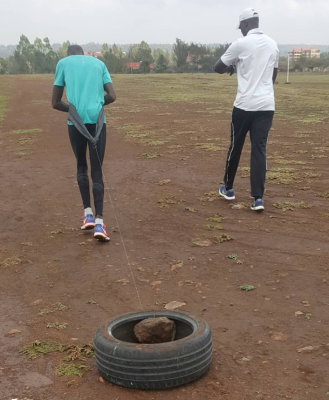 Resistance training, RAC-style (courtesy Timothy Cheruiyot Instagram)