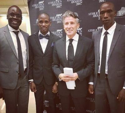 Ouma, Manangoi, IAAF president Seb Coe, Cheruiyot at last years IAAF Athletics Awards
