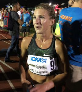 Shannon Osika after winning 2018 Hoka One One Long Island Mile in 4:29.91 (photo by David Monti for Race Results Weekly)