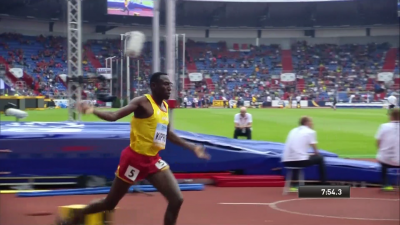 Kipruto was well into his celebration before he hurdled the final water jump