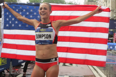 Jenny Simpson celebrates after winning the 38th New Balance Fifth Avenue Mile in New York (photo by Jane Monti for Race Results Weekly)