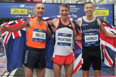 Nick Willis (second), Jake Wightman (first) and Neil Gourley (third) celebrate after the 38th New Balance Fifth Avenue Mile in New York (photo by Jane Monti for Race Results Weekly)