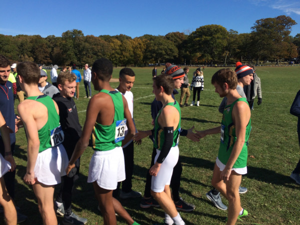 The ND and Syracuse men shook hands after the race
