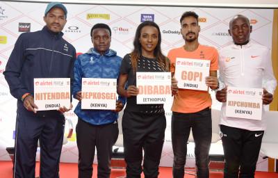 L-R Elite athletes after the Airtel Delhi Half Marathon 2018 press conference Nitendra Singh Rawat, Joyciline Jepkosgei, Tirunesh Dibaba, Gopi Thonakal & Daniel Kipchumba.JPG