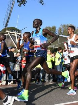 Kiptum at the 2017 Amsterdam Marathon, where he finished 3rd in 2:05:26 (his PB)