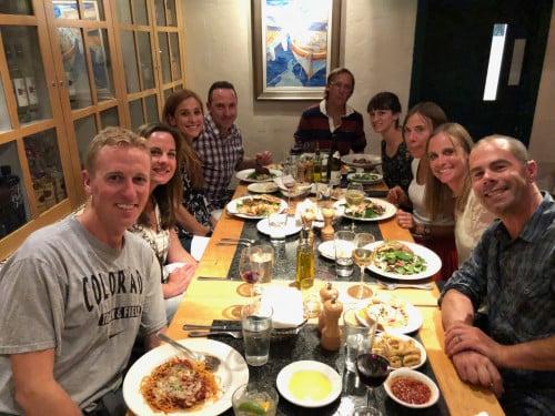 From left: Jason & Cate Robbie, Kara & Adam Goucher, Jon & Natalie Severy, Betty Severy, Robin Severy & husband