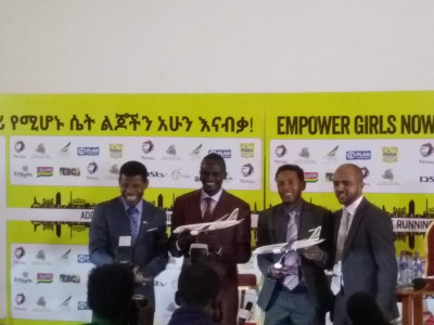 Geb, Kiprotich, Tadese, and Race Director Ayele