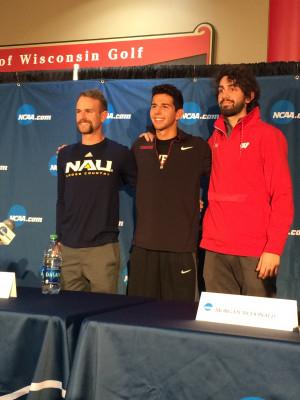 Matt Baxter, Grant Fisher, & Morgan McDonald before NCAA XC