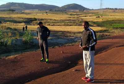Getaneh on the left and Assefa Mezgebu on the right