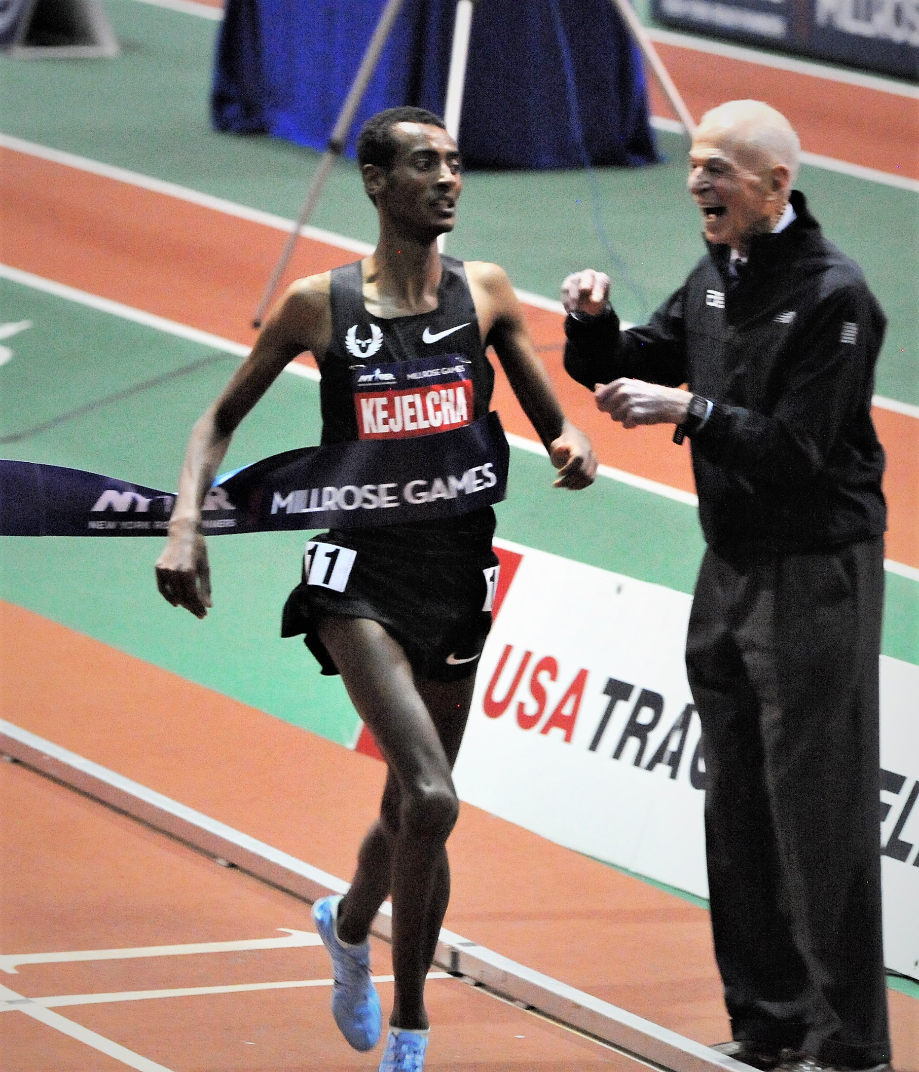 Kejelcha winning Millrose in February (Photo by Phil Bond)