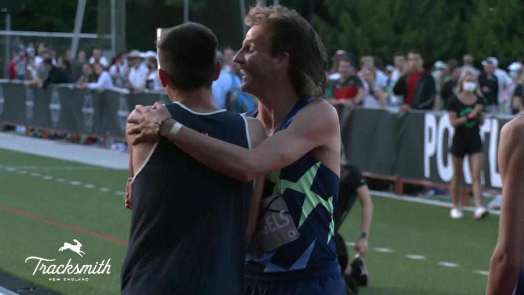 Craig Engels congratulates Hobbs Kessler
